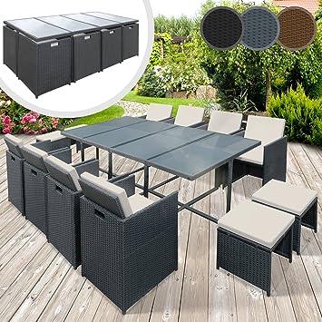 Miadomodo Set Möbel Garten Polyrattan Stühle Tisch Hocker Set Möbel Garten  In Farbe Und Set Ausgewählt