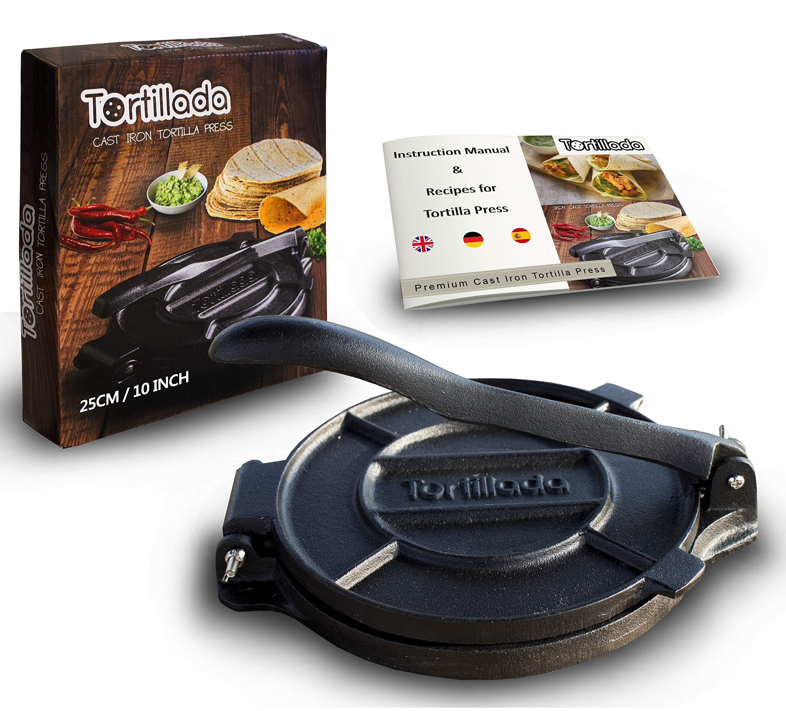 Tortillada - Premium Cast Iron Tortilla Press with Recipes (10 Inch) / Biggest Tortilla Press in the Market by Tortillada