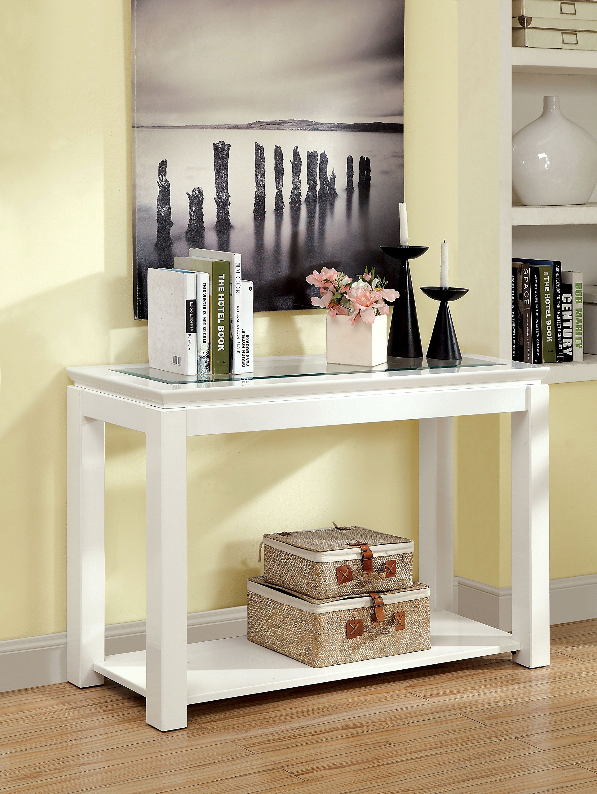 Furniture of America Kappa Contemporary Glass Top Sofa Table, White
