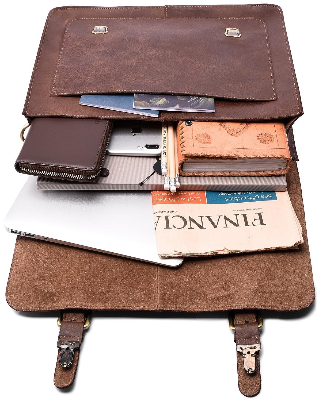 LEABAGS Omaha malet/ín de aut/éntico Cuero b/úfalo en el Estilo Vintage CrazyVinkat
