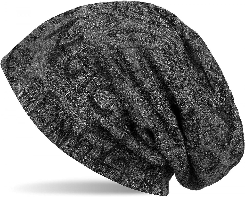 Unisex 04024074 Slouch Longbeanie styleBREAKER Beanie M/ütze mit Schrift Muster im Destroyed Vintage Design