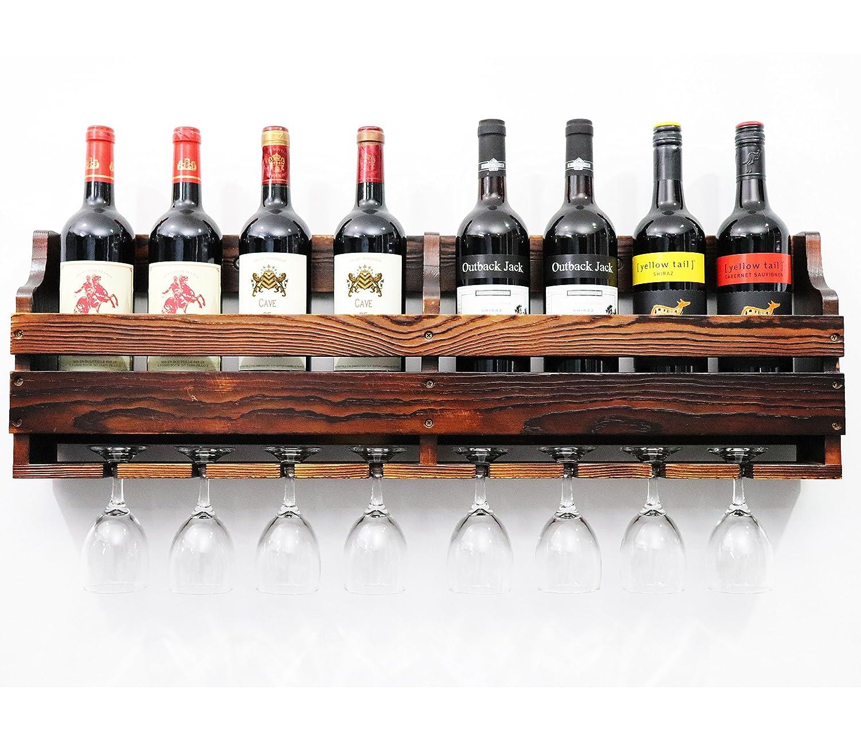 TUORUI Wine Rack montado en la pared, Estantería de vino, estante de exhibición de la botella del vino y del vino, madera de pino, soporte del vidrio de 8 botellas 8 tallo largo,Decoración del estante del vino(Charcoal Walnut Color)
