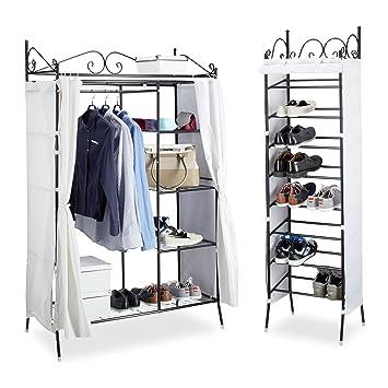 Garderoben Set COUNTRY, Kleiderschrank Mit Stoffvorhang, Schuhregal,  Stoffschrank, Schuhschrank