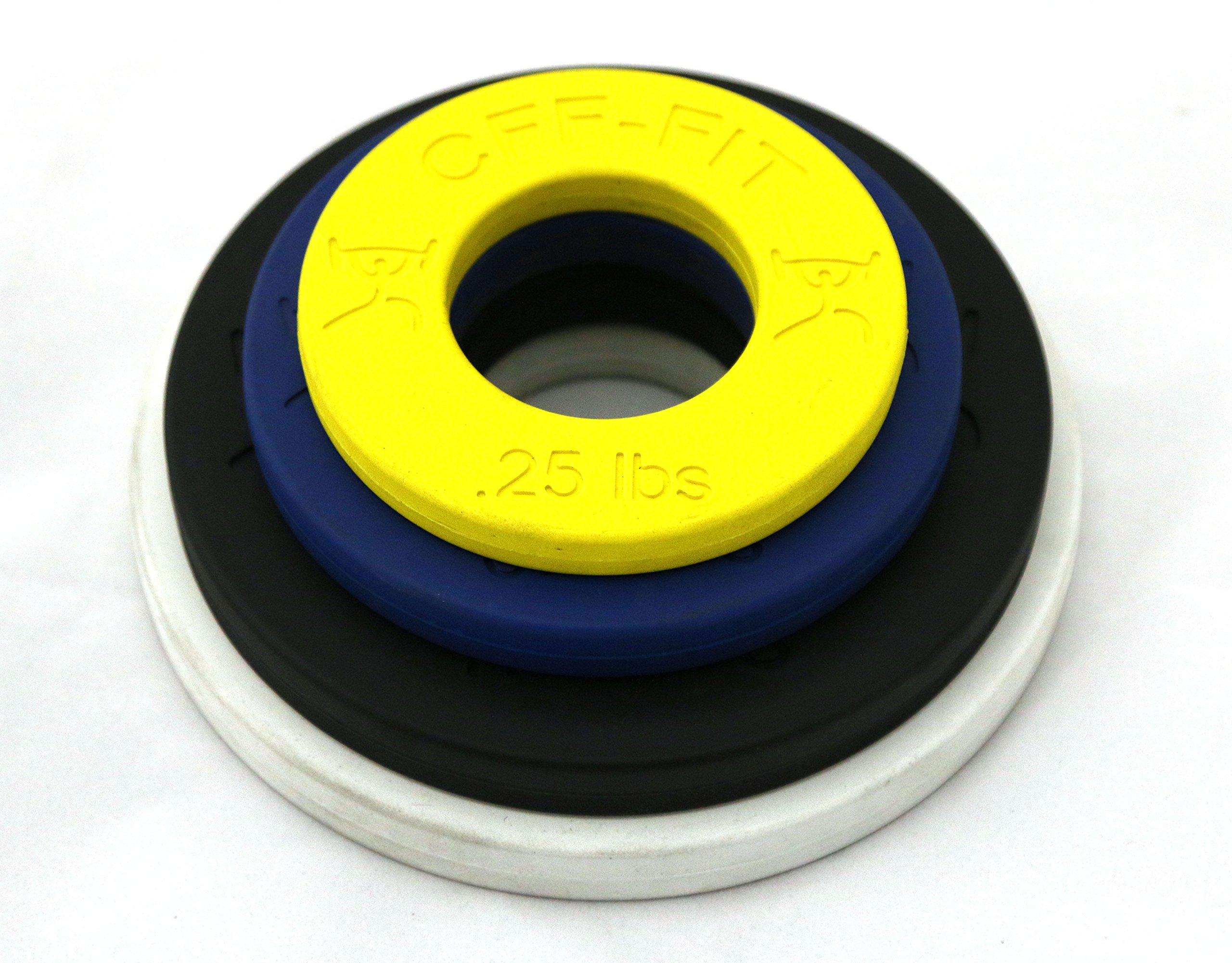 CFF Competition Rubber Fractional Weight Plates - .25 lb.5 lb, 1 lb, 1.25 lb. Pairs - 6 Lb Set
