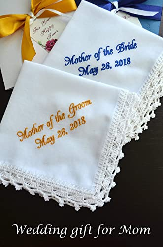 amazon com wedding handkerchief set for mother of the bride and