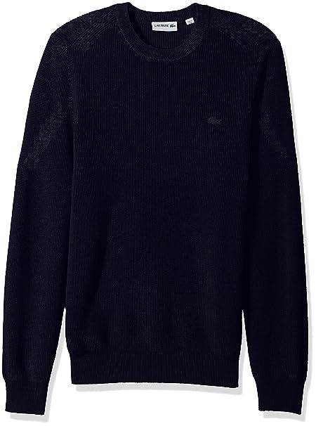 Lacoste Wool Half Cardigan Rib Sweater with Fancy Stitch