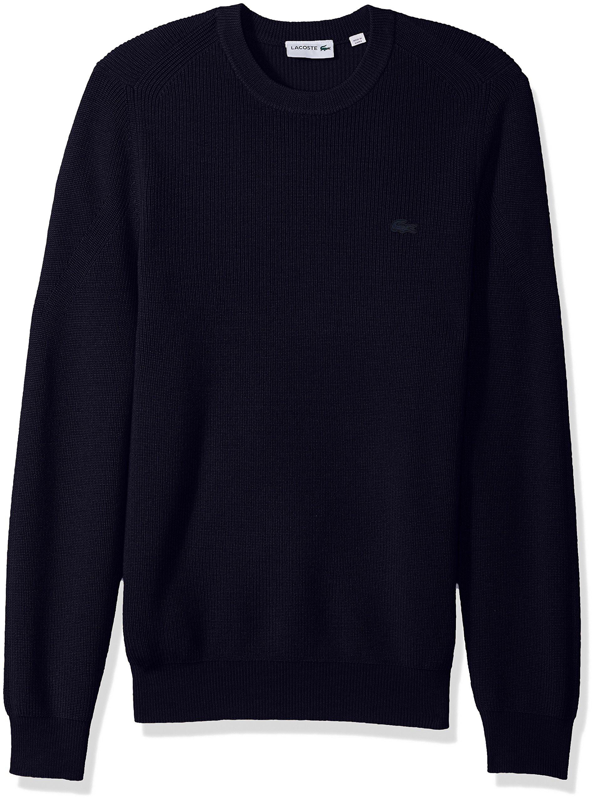 Lacoste Men's Wool Half Cardigan Rib Sweater with Fancy Stitch, Navy Blue, Medium