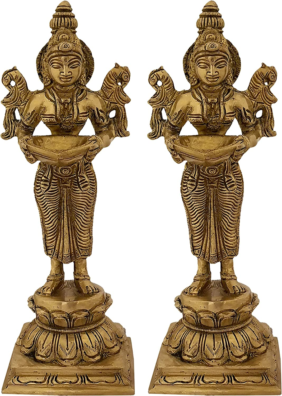 Indian Diwali Oil Lamp Pooja Diya Brass Light Puja Decorations Mandir Decoration Items Handmade Home Backdrop Decor Lamps Made in India Decorative Wicks Diyas Welcome Lakshmi Deepak Set of 2 - Golden