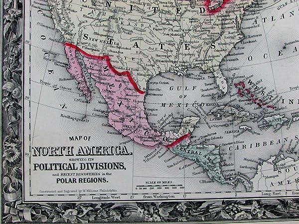 north america us russian alaska british canada 1860 mitchell fine old color map