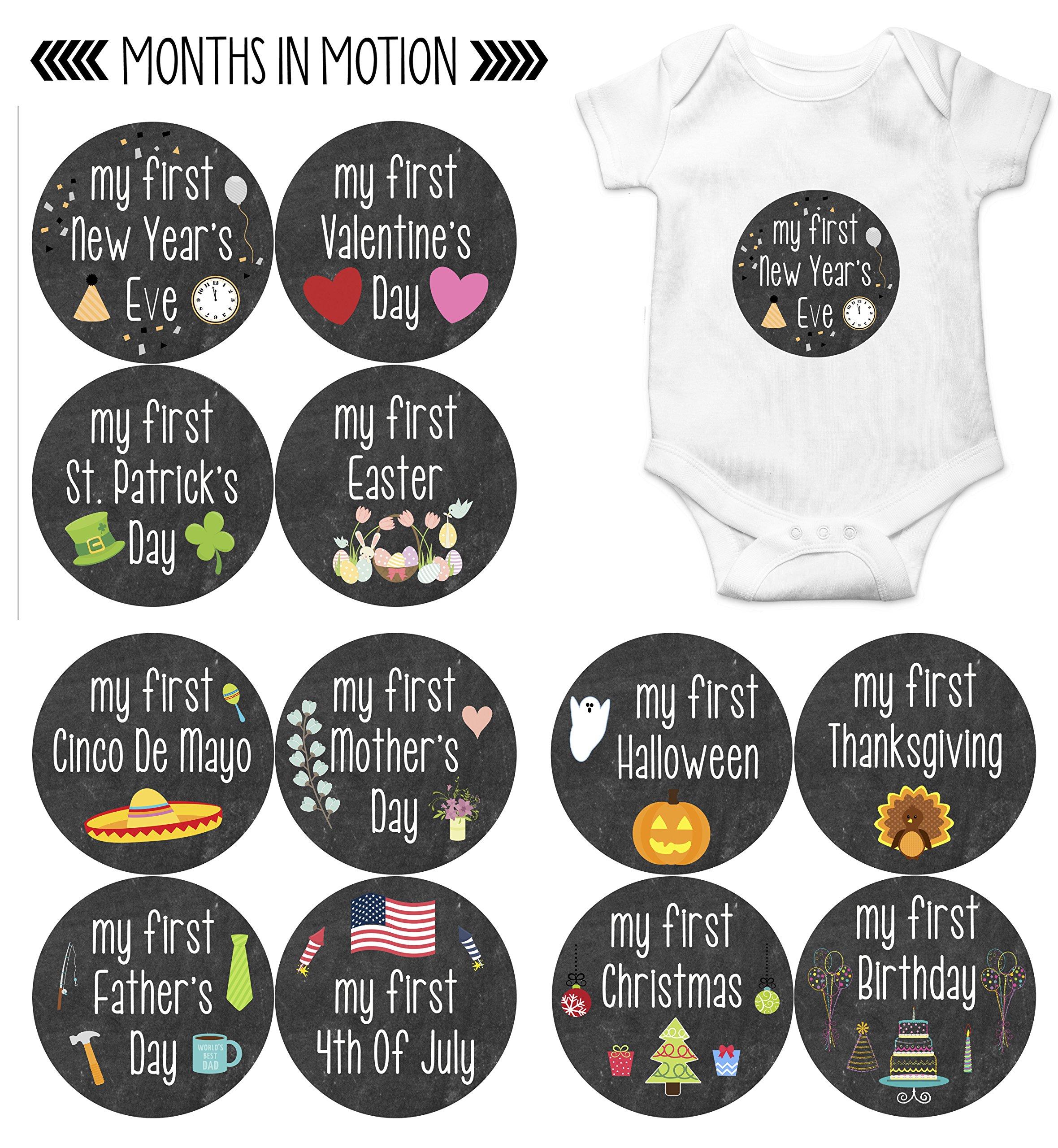 Amazon.com : My First Holiday Baby Stickers Milestone Christmas ...