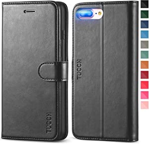 TUCCH iPhone 8 Plus Wallet Case, iPhone 7 Plus Case, Premium PU Leather Flip Case with Card Slot, Stand Holder, Magnetic Closure [Shockproof TPU Interior Case] Compatible with iPhone 7/8 Plus, Black