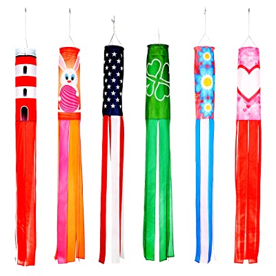 "Trademark Innovations 60"" Spring and Summer Theme Windsocks - Set of 6 - Blows in The Wind : Garden & Outdoor"