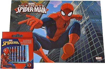 Cahier A Dessin Spiderman 30 Pages 24x33 Cm Imprimees A Colorier 12 Crayons Cire Amazon Fr Fournitures De Bureau