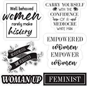 Feminist Stickers for Women - Set of 6 Female Empowerment Stickers for Laptops, Water Bottles, Lockers, and More. Our Vinyl Girl Power Quotes and Sayings Stickers are Waterproof