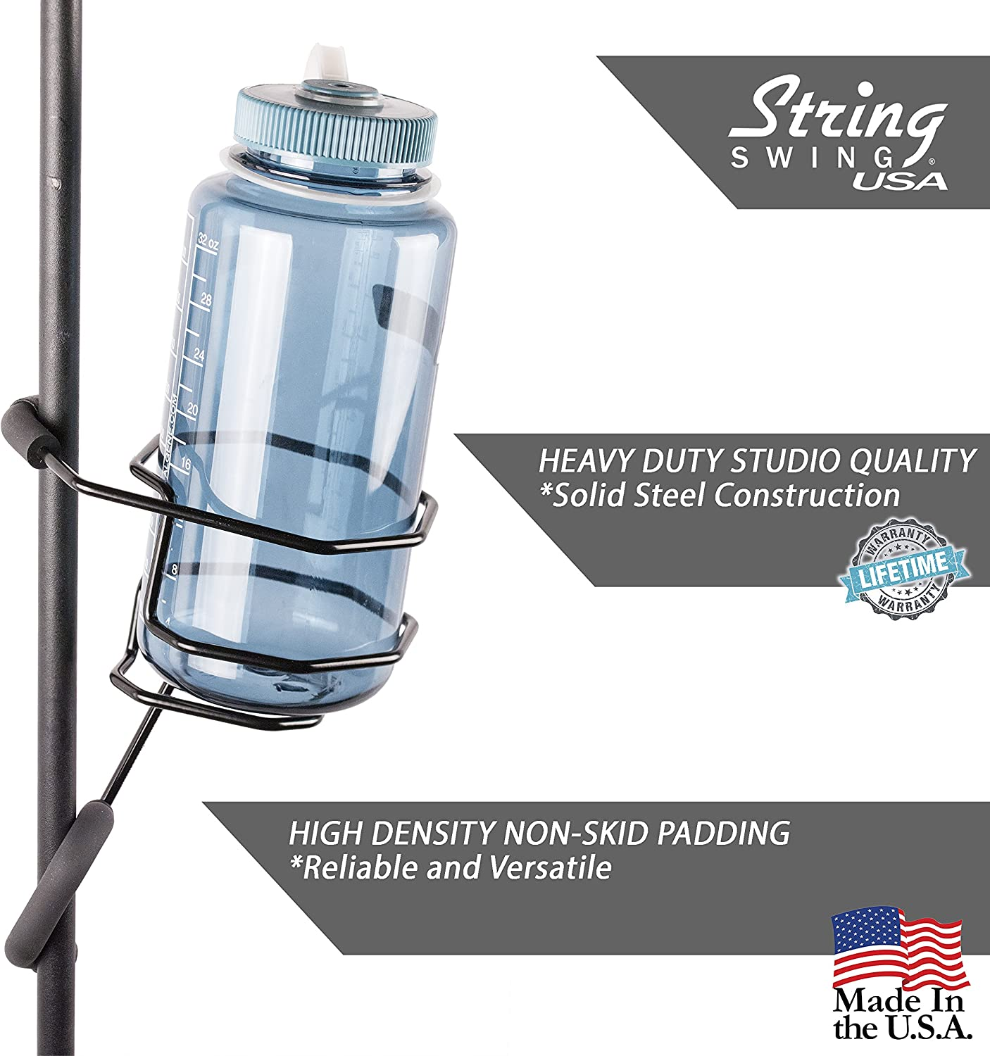 String Swing Mic Stand Large Drink Holder - Microphone & Cymbal Pole Mount For Nalgene Water Bottle Mason Jar Atlas Coffee Thermos Contigo Travel Mug