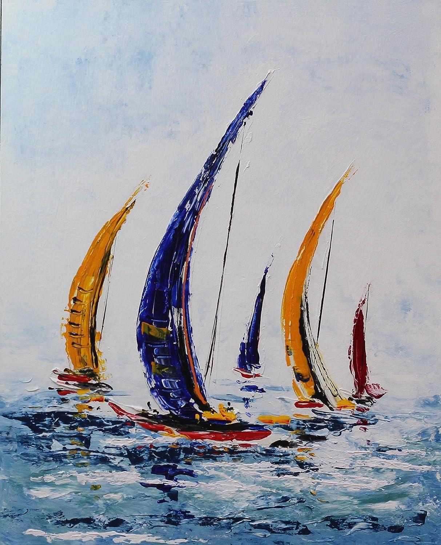 Angie Decoration Barcos Cuadro, Acrílico, Azul, 100x80 cm