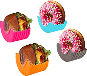 Ubrand Reusable Burger Buddy, Adjustable Burger Holder, Silicone Hamburger Holder, Hamburger Press Patty Maker