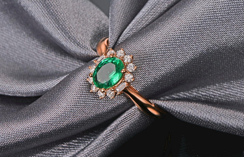 1f038940ad76 Epinki Oro 18 Quilates Anillos para Mujeres óvalo Flores Anillo de Diamante  Anillos Mujeres con Blanco Verde Diamante Esmeralda  Amazon.com.mx   Deportes y ...