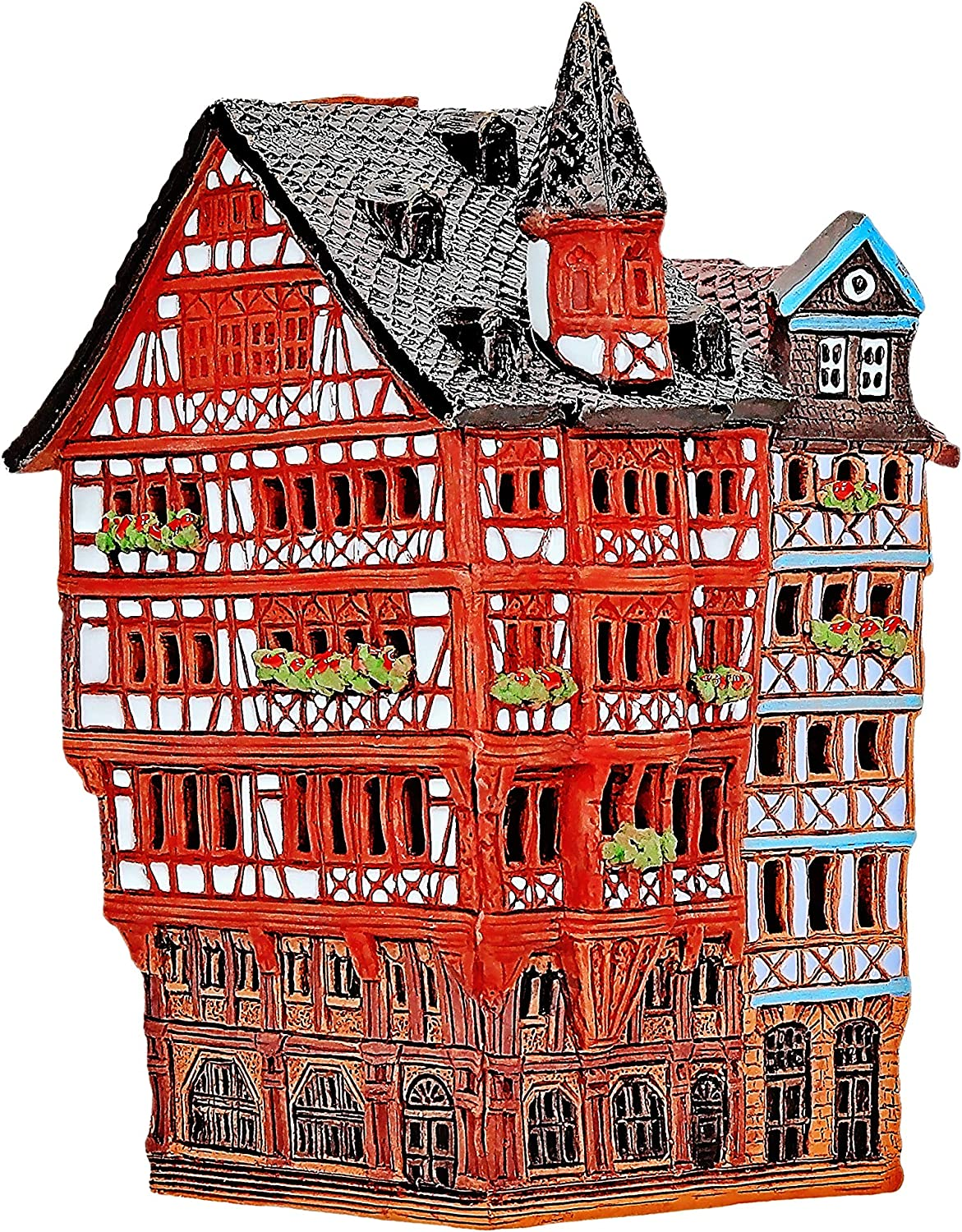 Midene Ceramic Tealight Candle Holder | Room Decoration | Collectible Miniature of The Historic House on Römer Square in Frankfurt | S16-1
