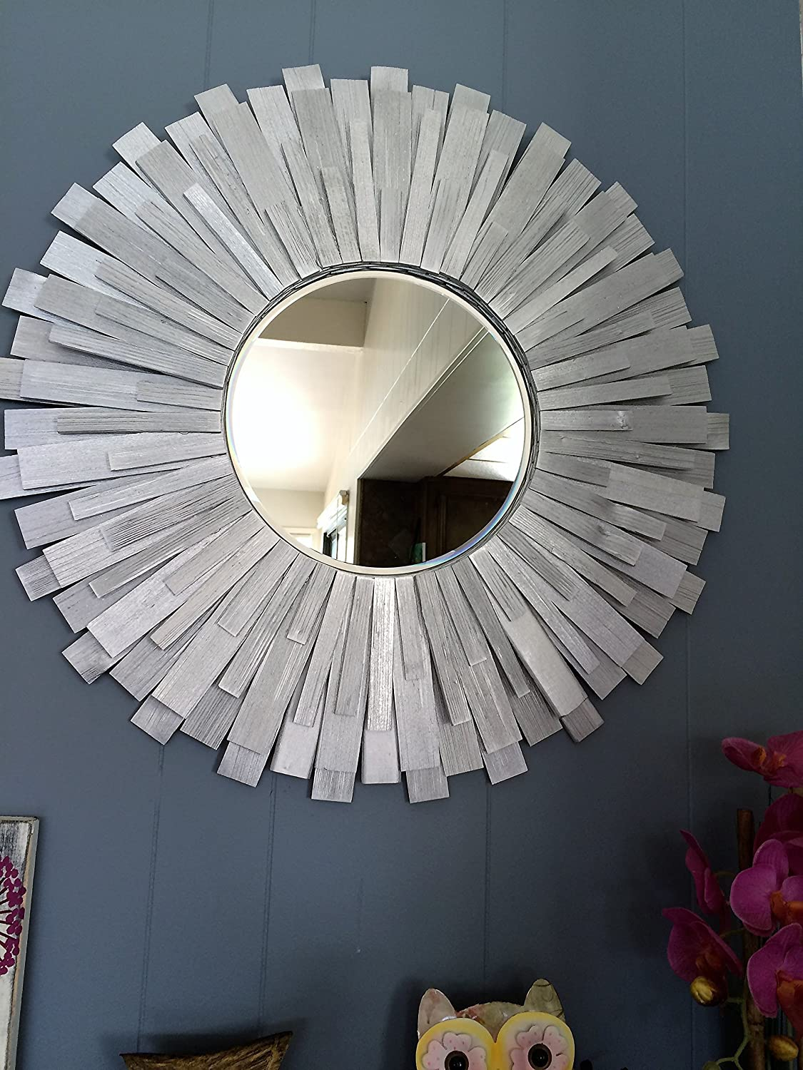 Sunburst Handmade Wall Mirror 24'' Silver wood frame
