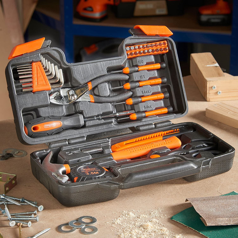VonHaus Orange 39 Piece General Tool Set - Home Hand Tool Kit with ...