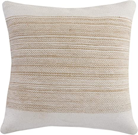 Lr Home Jute Striped And Bordered Throw Pillow 20 X 20 Ivory Tan Home Kitchen