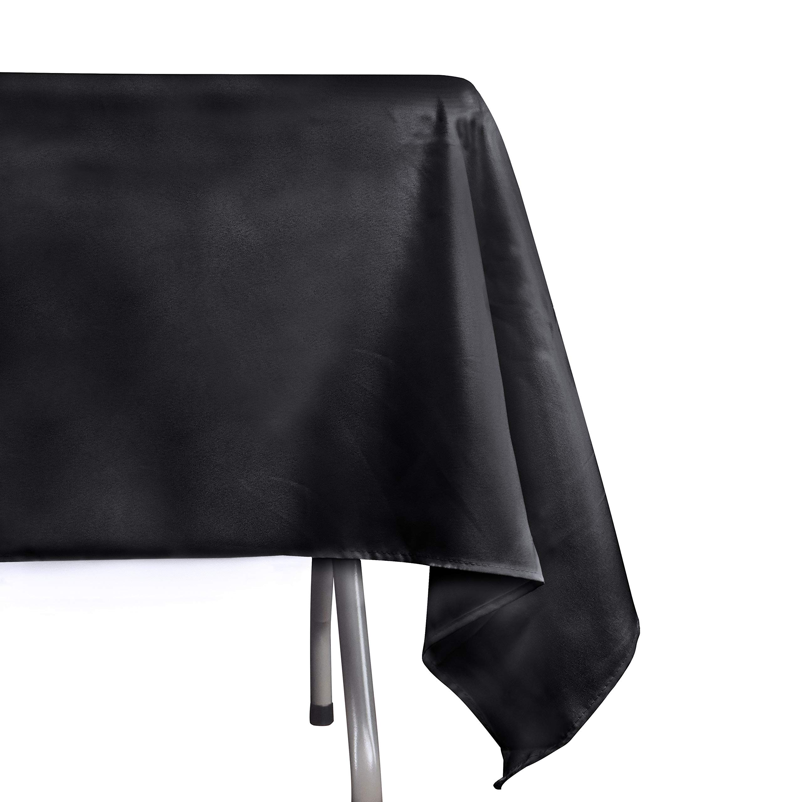 EMART Rectangle Tablecloth, 60 x 102 inch Black 100% Polyester Banquet Wedding Party Picnic Rectangular Table Cloths (6 Pack) by EMART