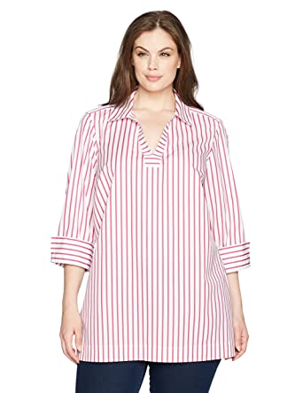 efbba1e8130 Foxcroft Women s Plus Size Nora Slim Stripe Non Iron Tunic at Amazon Women s  Clothing store