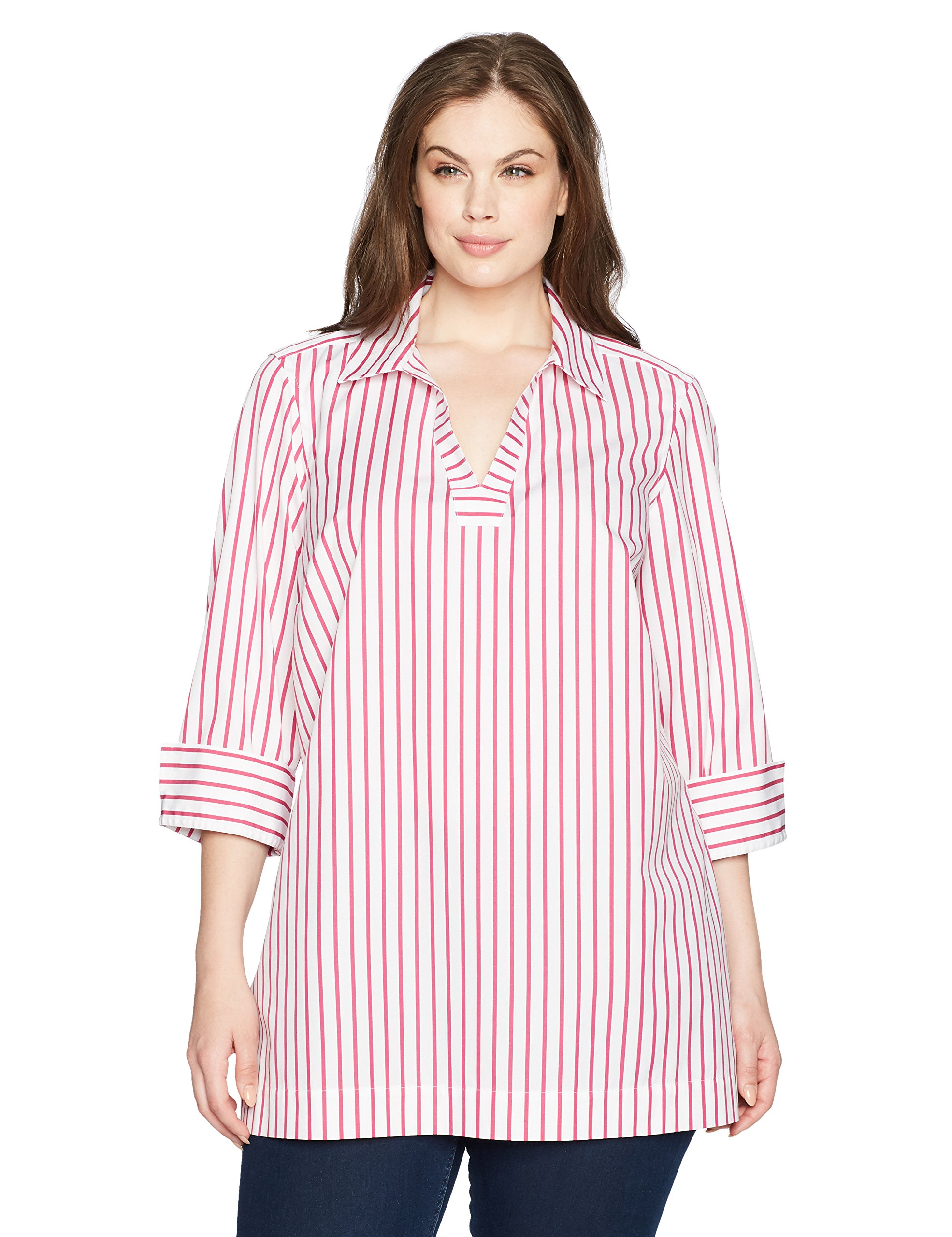 Foxcroft Women's Plus Size Nora Slim Stripe Non Iron Tunic, Summer Berry, 22W