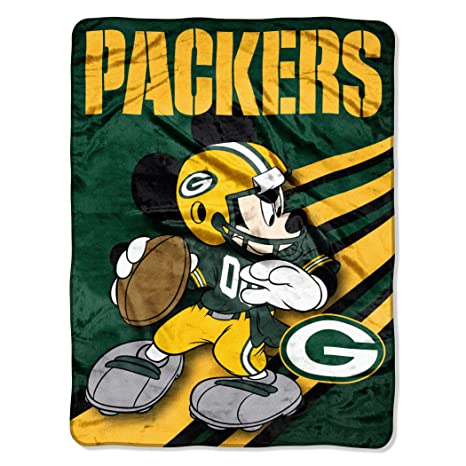 Amazon NFL Green Bay Packers Mickey Mouse Ultra Plush Micro Adorable Green Bay Packers Throw Blanket