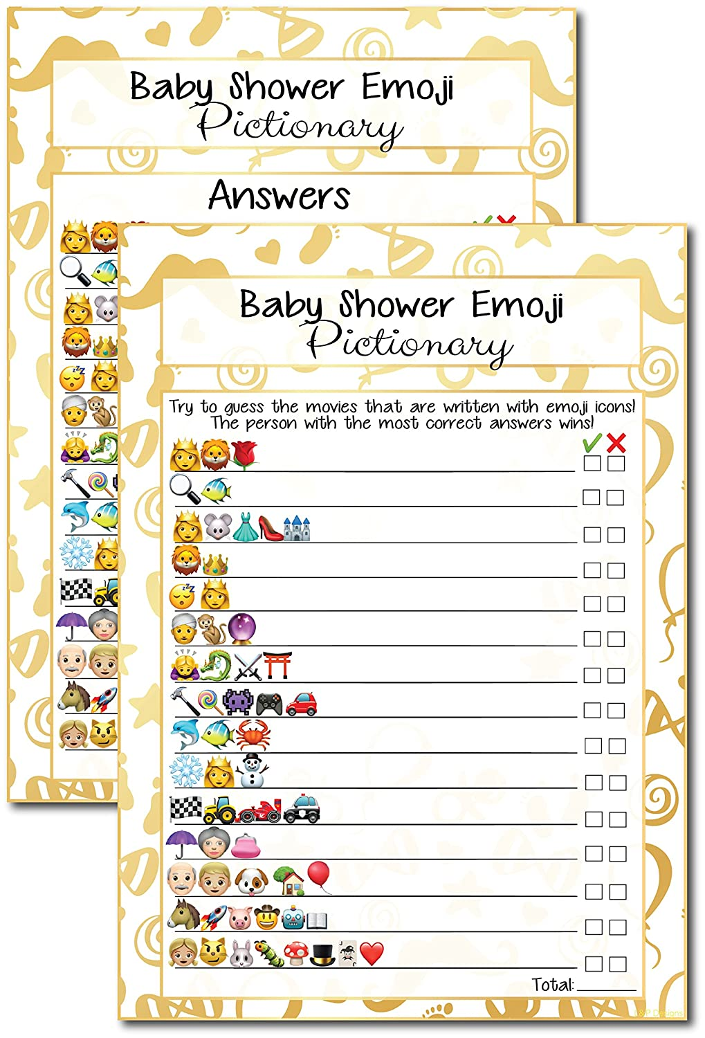 20 Kids Movie Emoji Pictionary Baby Shower Games Ideas For Moms, Dads, Kids,  Girls or Boys, Couples, Adults, Fun Cute Shower Party Bundle Set, Gold  Favor, ...