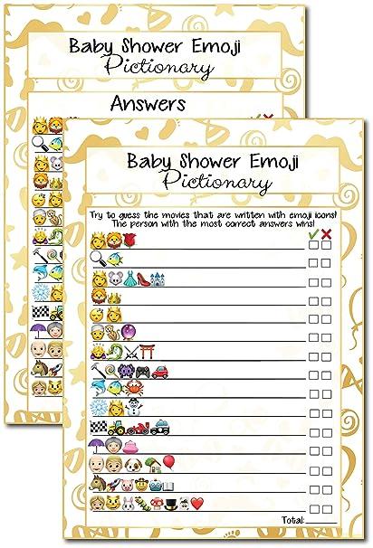 Amazon Com 20 Kids Movie Emoji Pictionary Baby Shower Games Ideas