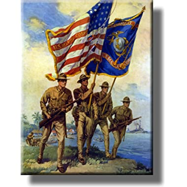 United States Marine Corp Picture on Stretched Canvas Wall Art Décor Framed Ready to Hang!