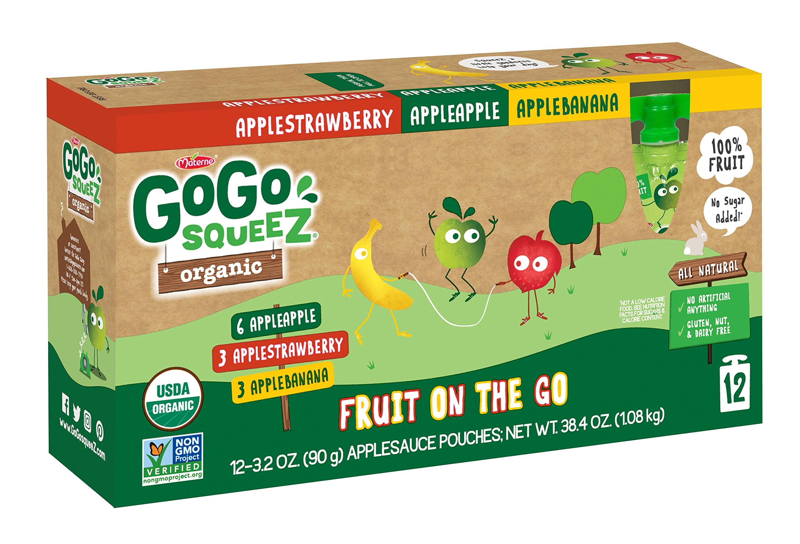GoGo SqueeZ Organic Applesauce on the Go, Variety Pack (Apple Apple/Apple Banana/Apple Strawberry), 3.2 Ounce Portable BPA-Free Pouches, Gluten-Free, 72 Total Pouches (6 Boxes with 12 Pouches Each)