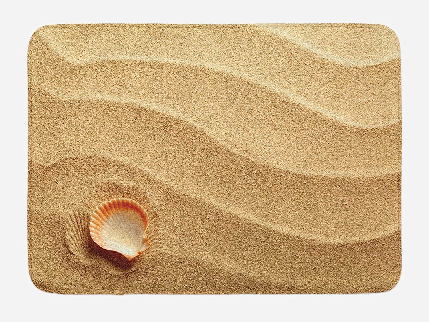 Seashells Bath Mat, Little Seashell on Golden Sand
