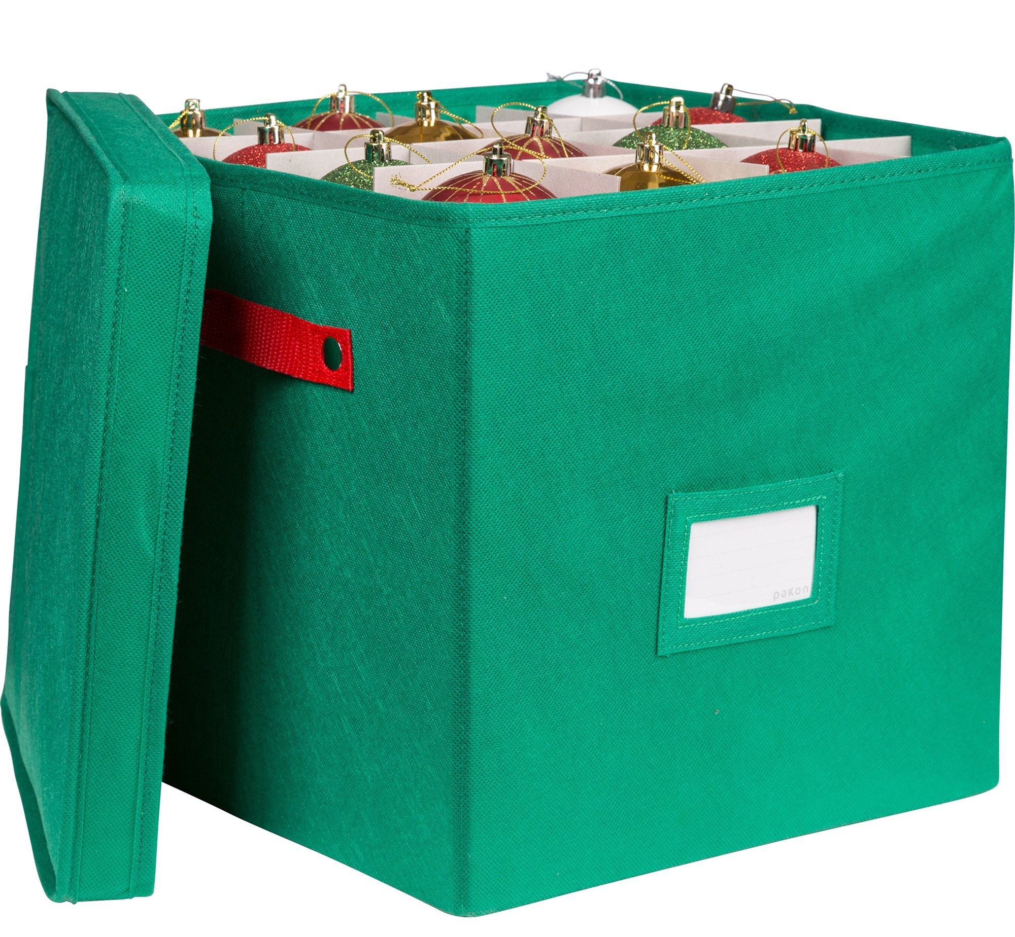 Pakkin Christmas Ornaments Storage Box with Lid and 4 Adjustable Layers - Fits 64 Round Ornaments, 12 x 12 x 12–Inches, Green