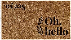"Barnyard Designs 'Oh Hello, See Ya' Doormat, Indoor/Outdoor Non-Slip Rug, Front Door Welcome Mat for Outside Porch Entrance, 30"" x 17"""