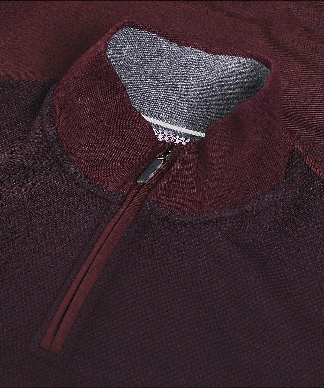Ted Baker Mens Textured Half-Zip Bits Jumper Purple