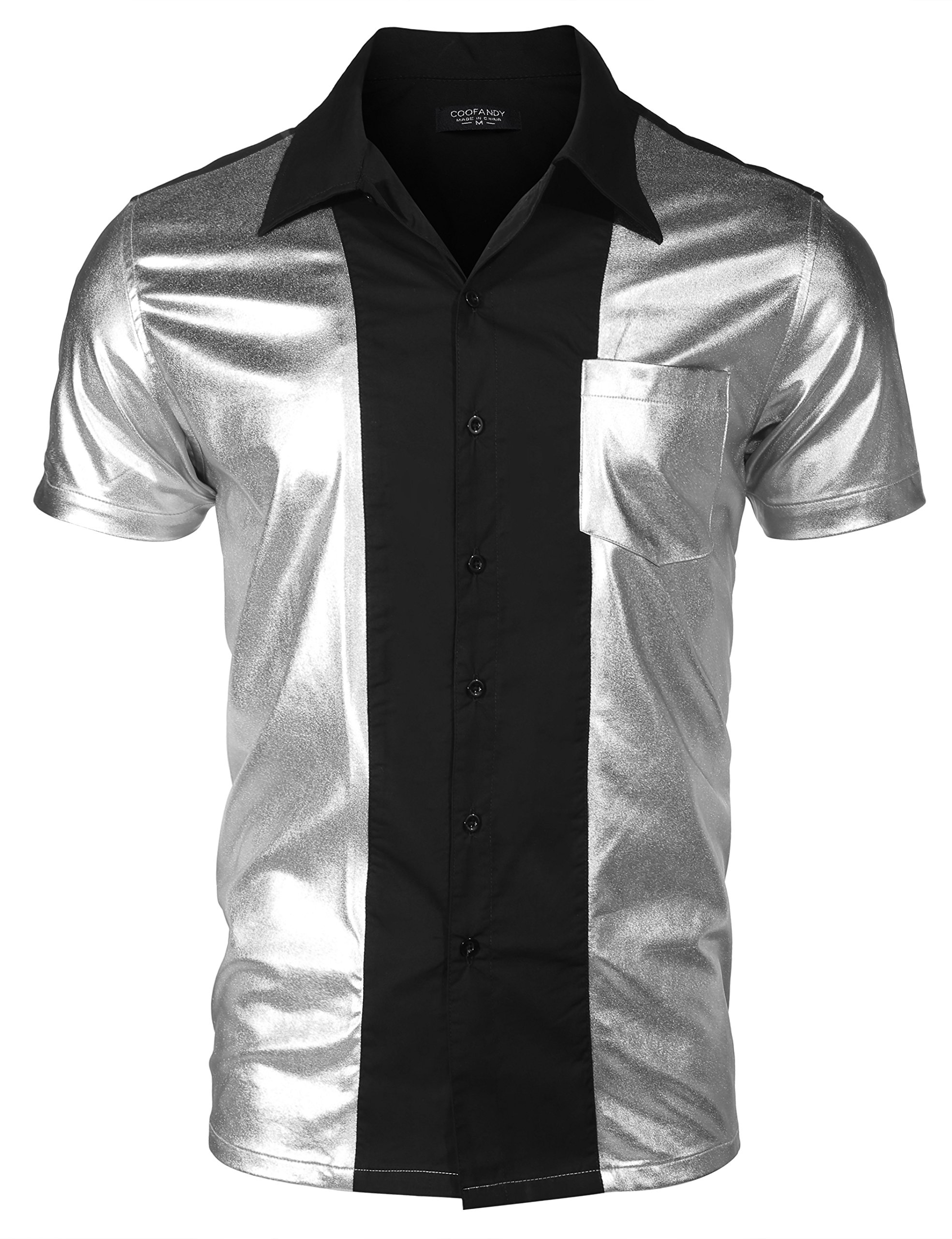 COOFANDY Mens Party Shirt Shiny Metallic Disco Nightclub Style Short Sleeves Button Down Bowling Shirts,Silver,XX-Large