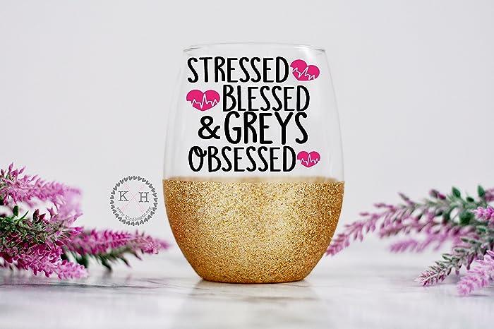 Amazon Greys Anatomy Wine Glass Stressed Blessed And Greys