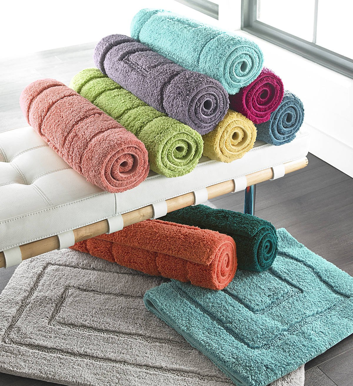 Luxor Linens Spring Bliss 100% Egyptian Cotton Bath Rugs - Blood Orange - Large (24'' x 40'')