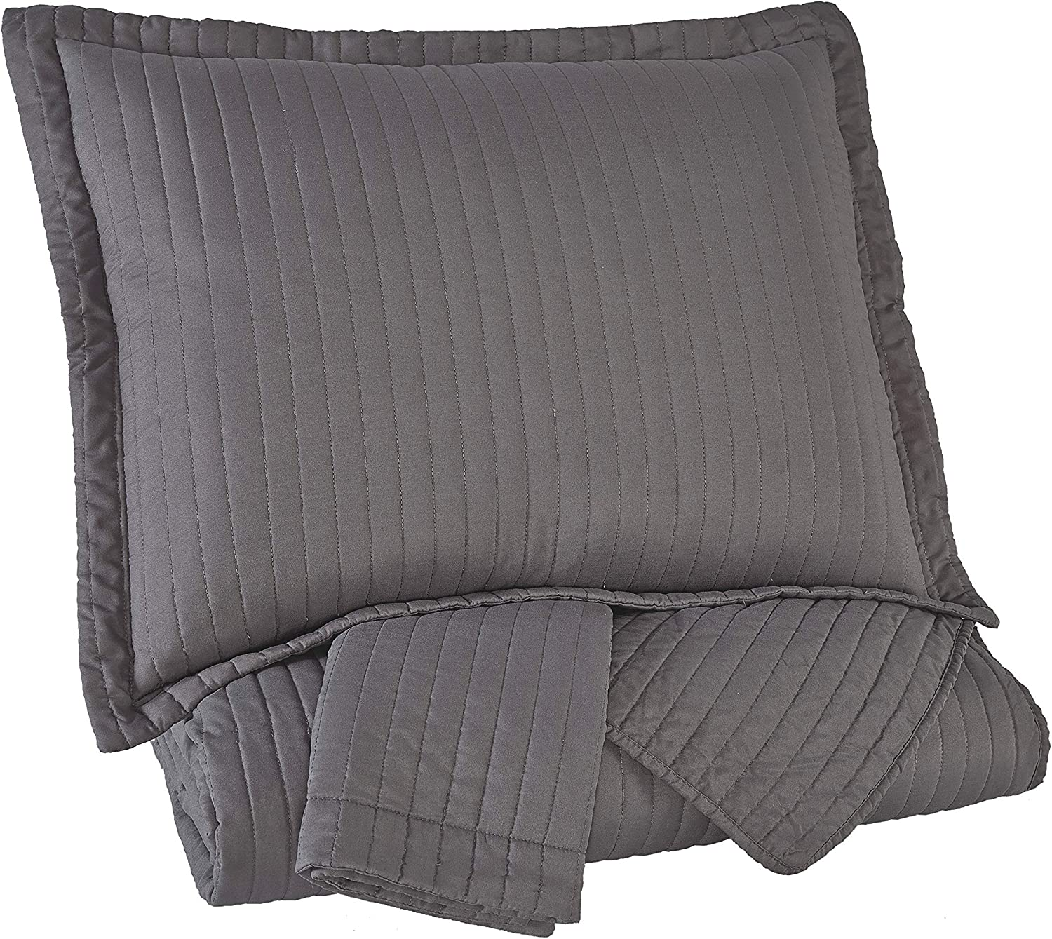 Signature Design by Ashley Q498003Q Raleda 3 Piece King Coverlet Set, Queen, Gray