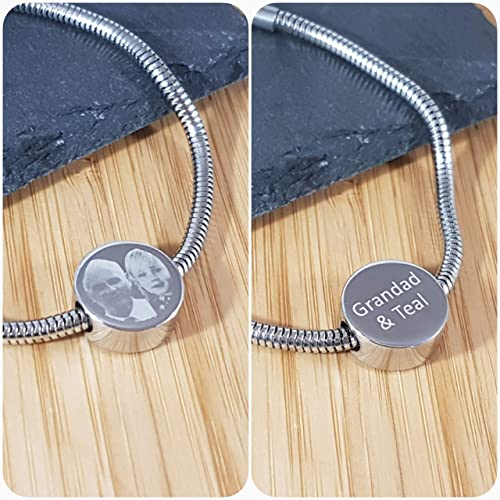0b0cae577 Personalised Photo Engraved Round Charm - Perfect Gift for Valentines or  Mothers Day - Fits Pandora Bracelets - Double sided engraving:  Amazon.co.uk: ...