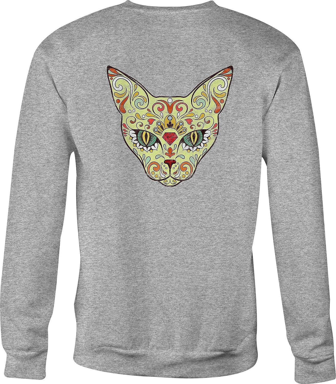 Motorcycle Crewneck Sweatshirt Green Eye Egyptian Cat Sugar Skull