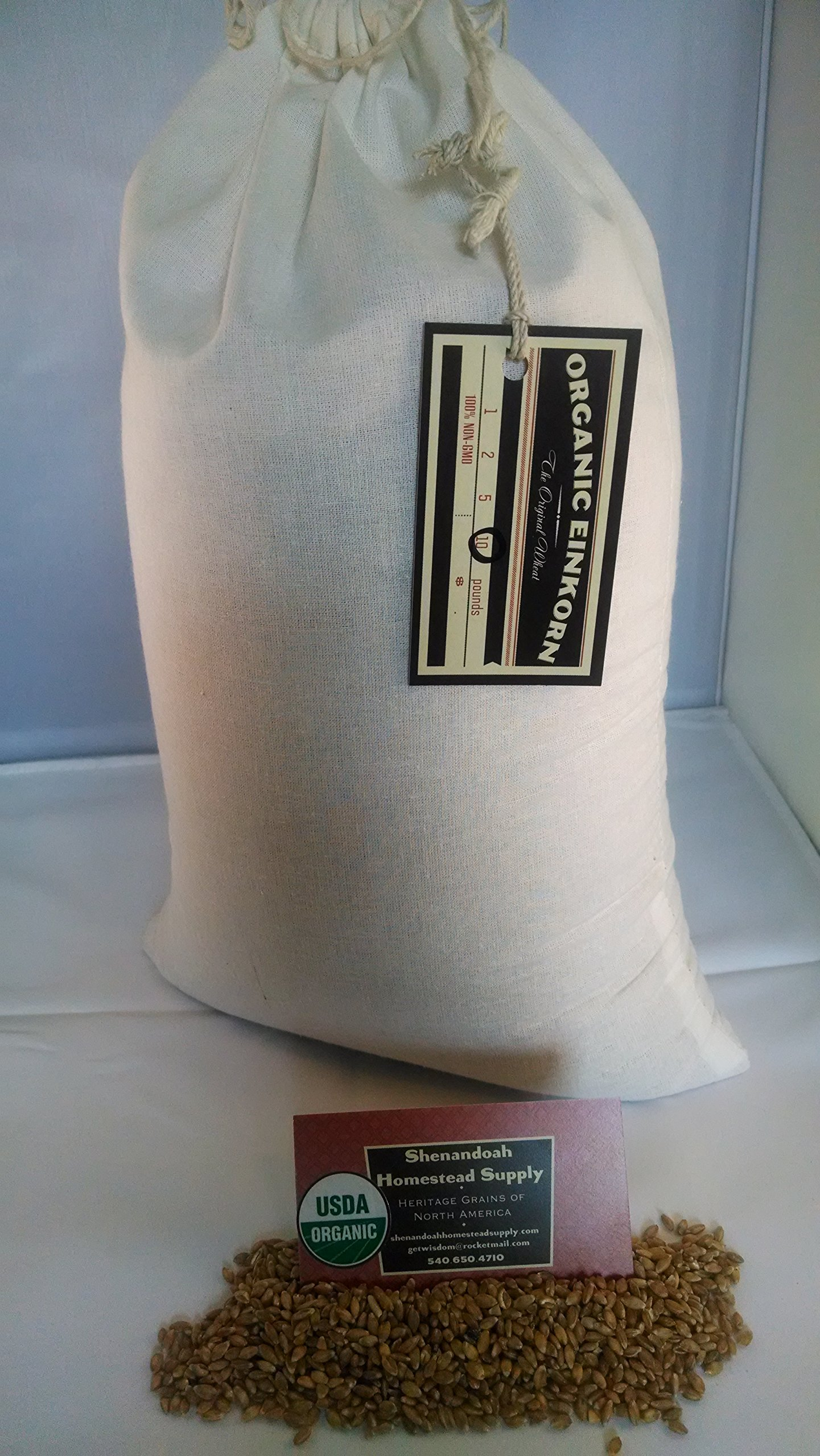 Organic Whole Grain Einkorn Flour, Fresh Stone-Ground & USA Grown, Heritage Grains of Shenandoah- great for gluten issues (10 pounds)