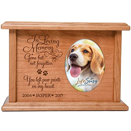 Cremation Urns for Pets SMALL Memorial Keepsake box for Dogs and Cats, personalized Urn for pet ashes portion of ashes In Loving Memory Gone but not forgotten You left paw prints… Holds 2×3 photo