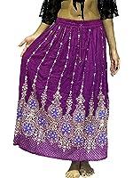 Dancers World, gonna lunga indiana da donna con paillette, stile hippy gitano, per danza del ventre