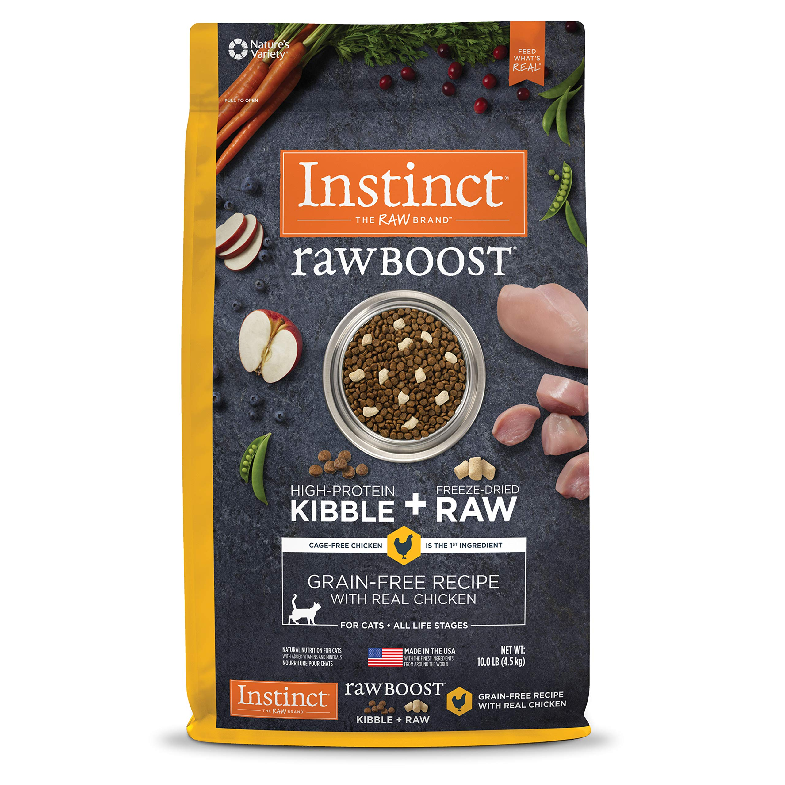 Instinct Raw Boost Grain Free Recipe with Real Chicken Natural Dry Cat Food by Nature's Variety, 10 lb. Bag by Instinct
