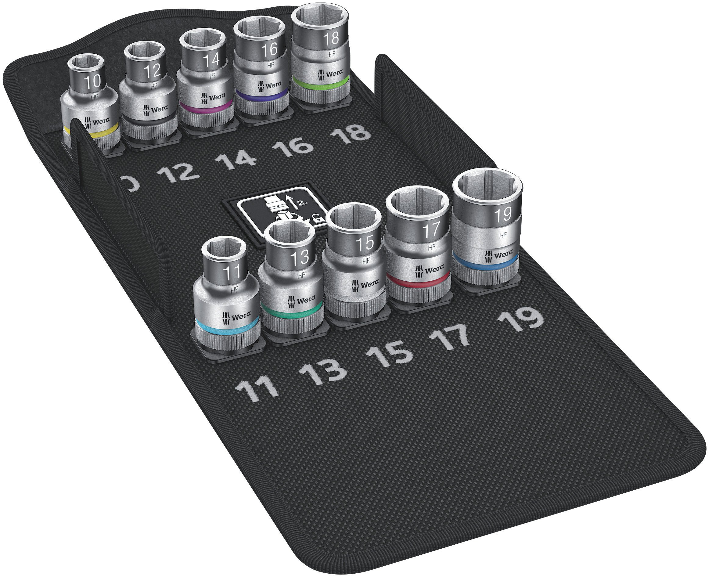 Wera 05004203001 8790 Hmc Hf 1 Zyklop Socket Set with 1/2'' Drive with Holding Function, 10 Pieces