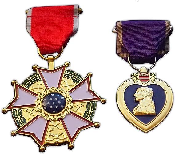 Morado corazón + Legión de mérito medalla Set Elite militar premio USAF réplica regalo: Amazon.es: Deportes y aire libre